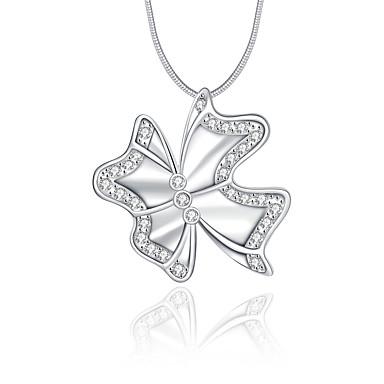 Kadın Bowknot Shape Lüks Eşsiz Tasarım Logo Stili Sallantılı Stil Uçlu Kolyeler Kristal Som Gümüş Kristal Simüle Elmas Uçlu Kolyeler ,