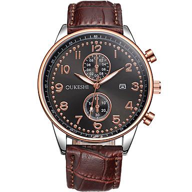 Męskie Modny Zegarek na nadgarstek Kwarcowy Kalendarz Skóra Pasmo Nowoczesne Na co dzień Brązowy White Black Brown Niebieski