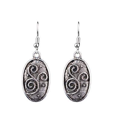 Damla Küpeler Moda Eski Tip Bohemia Stili Euramerican Oyulmuş Avrupa alaşım Oval Shape Flower Shape Gümüş Mücevher Için Düğün Parti Günlük