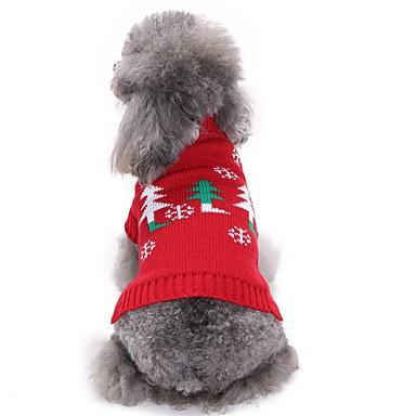 Γάτες Σκυλιά Παλτά Πουλόβερ Ρούχα για σκύλους Χειμώνας Άνθινο / Βοτανικό Μοντέρνα Καθημερινά Χριστούγεννα Κόκκινο
