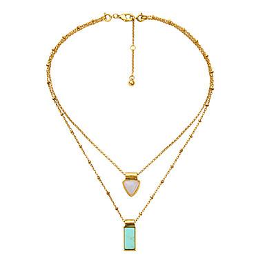 Pentru femei Coliere Layered Cristal Geometric Shape La modă Personalizat Curcubeu Bijuterii Pentru Nuntă 1 buc