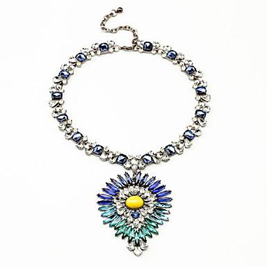Γυναικεία Κρεμαστά Κολιέ Κρυστάλλινο Flower Shape Εξατομικευόμενο Σκούρο μπλε Κοσμήματα Για Γάμου 1pc