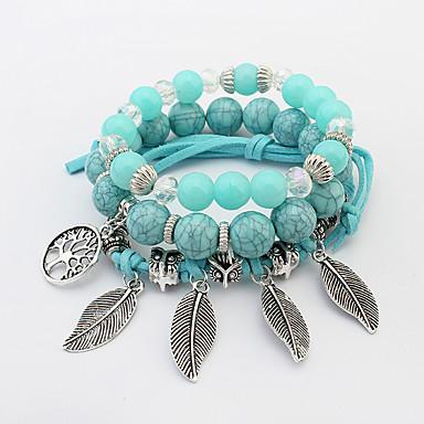 Naisten Leaf Shape Amuletti-rannekorut Strand Rannekorut - Boheemi Muoti Vihreä Pinkki Vaalean sininen Rannekorut Käyttötarkoitus Party