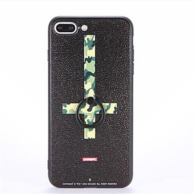 Pouzdro Uyumluluk Apple iPhone 7 Plus iPhone 7 Yüzüklü Tutacak Temalı Süslü Arka Kapak Kamuflaj Rengi Sert PC için iPhone 7 Plus iPhone 7