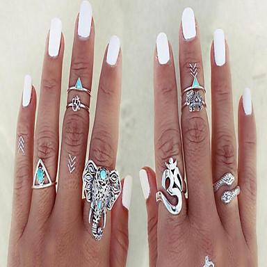 Pierścionki na palec środkowy Postarzane Szmaragdowy Stop Animal Shape Silver Biżuteria Na Codzienny Casual 1set