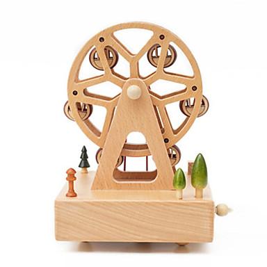الصندوق الموسيقي مربع دائري مرح الذهاب جولة عجلة فيريس جذاب للأطفال بالغين أطفال هدية خشب للجنسين