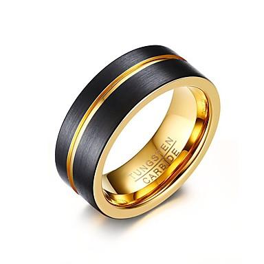 Heren Ring Gepersonaliseerde Standaard Modieus Euramerican Eenvoudige Stijl Wolfraamstaal Rond Cirkelvorm Geometrische vorm Sieraden