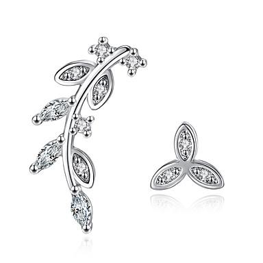 Damen Blattform Kubikzirkonia Sterling Silber Ohrstecker - Personalisiert Silber Blattform Ohrringe Für Hochzeit Party Alltag Normal