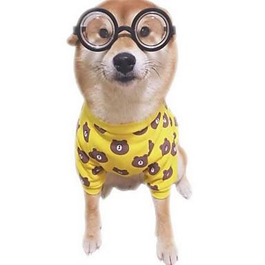 Köpek Tişört Noel Köpek Giyimi Ayı Sarı Pamuk Kostüm Evcil hayvanlar için Kadın's Sevimli Günlük/Sade Moda