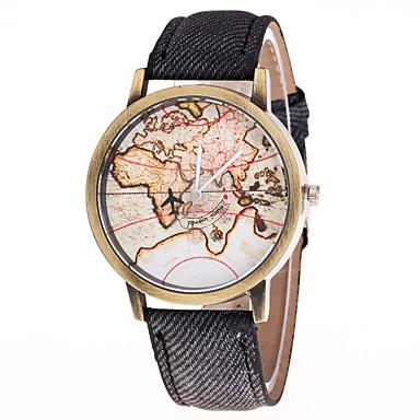 Bărbați Ceas La Modă Chineză Quartz Material Bandă World Map Pattern Hartă Călătorie Multicolor
