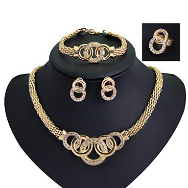 Damen Kreolen Halskette / Armband Ring Modisch Euramerican Strass Aleación Tropfen 1 Halskette 1 Paar Ohrringe 1 Armreif Ringe Für