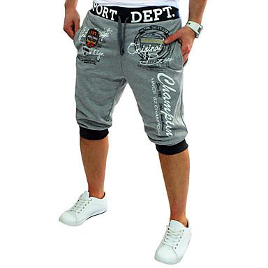 abordables Vêtements de Mode pour Hommes-Homme Actif Coton Ample / Actif / Joggings Pantalon - Lettre Imprimé Gris Foncé / Sports / Eté