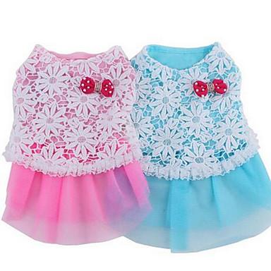 كلب الفساتين ملابس الكلاب منقط أزرق زهري قطن كوستيوم للحيوانات الأليفة للرجال للمرأة جميل كاجوال/يومي موضة