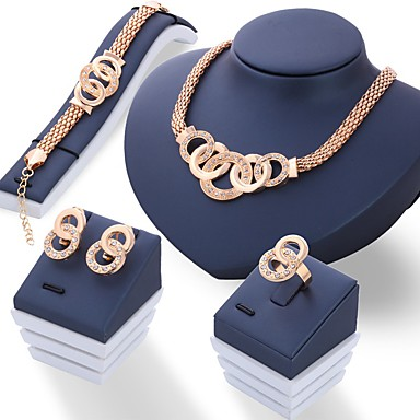 cheap Jewelry Sets-Women's Jewelry Set Rhinestone Ladies, Unique Design Include Gold / Silver For Wedding Party Daily / Rings / Earrings / Necklace