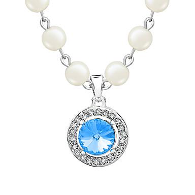 Kadın's Uçlu Kolyeler Kristal Dairesel Tasarım Eşsiz Tasarım Moda Kişiselleştirilmiş Euramerican Mor Kırmzı Açık Mavi Açık Yeşil Mücevher