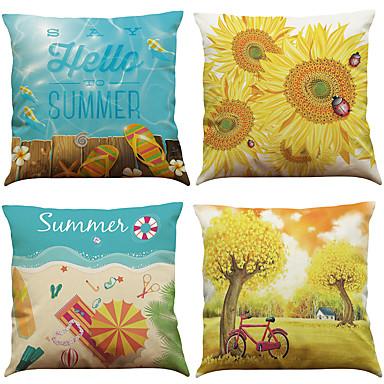 4 szt Bielizna Naturalne / ekologiczne Pokrywa Pillow Poszewka na poduszkę,Stały TexturedStyl plażowy Modern / Contemporary Biuro /
