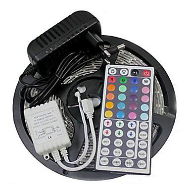 Z®zdm impermeável 5m 150x5050 smd rgb led luz de tira e 44key controle remoto e 3a eu / us / uk fonte de alimentação (ac110-240v)