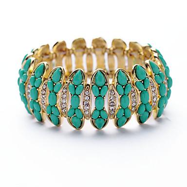 Kadın's Zincir & Halka Bileklikler Mücevher Arkadaşlık lüks mücevher alaşım Round Shape Yeşil Mücevher Için Parti Doğumgünü 1pc