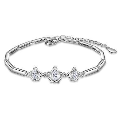 للمرأة أساور السلسلة والوصلة موضة زركون تصفيح بطلاء الفضة Crown Shape مجوهرات هدايا عيد الميلاد زفاف حزب مناسبة خاصة هدية