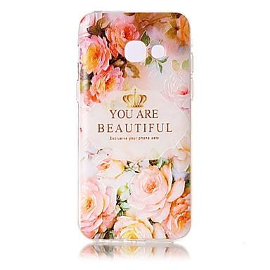 Pouzdro Uyumluluk Samsung Galaxy A5(2017) A3(2017) Şeffaf Süslü Temalı Arka Kılıf Kelime / Cümle Çiçek Yumuşak TPU için A3 (2017) A5