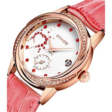 Dames Modieus horloge Swiss Kwarts Echt leer Band Rood Roze roze