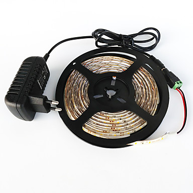 ZDM® 5m Light Sets 300 LEDs SMD 2835 1 DC Cables / 1 x 2A power adapter Warm White / White / Red Cuttable / Decorative 1set