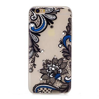 tok Για Apple Στρας Λάμπει στο σκοτάδι Με σχέδια Πίσω Κάλυμμα Lace Εκτύπωση Λουλούδι Μαλακή TPU για iPhone 7 Plus iPhone 7 iPhone 6s Plus