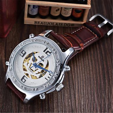 Herrn Modeuhr Mechanische Uhr Automatikaufzug Leder Band Schwarz Braun