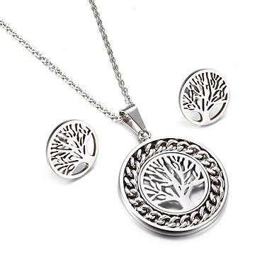 Damen Schmuckset Klassisch Freundschaft Modisch Simple Style Edelstahl Baum des Lebens 1 Halskette 1 Paar Ohrringe Für Hochzeit Party