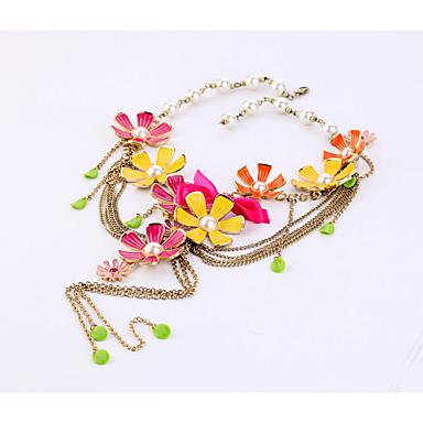 Kadın's Tellerinin Kolye Flower Shape Kişiselleştirilmiş sevimli Stil Gökküşağı Mücevher Için 1pc