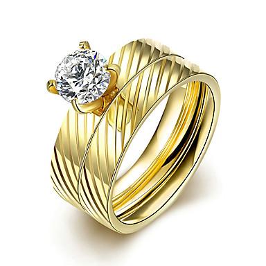 Damen Ring Verlobungsring Bandringe Simple Style Brautkleidung Modisch Titanstahl Kreisförmig Schmuck Weihnachts Geschenke Hochzeit Party