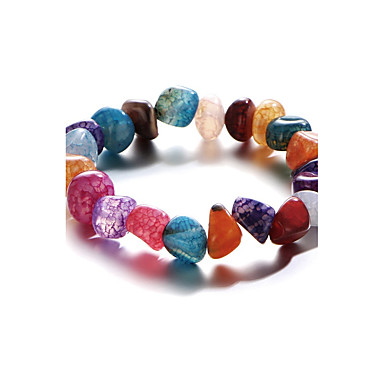 Dames Kinderen Strand Armbanden Multi-steen Natuur Modieus Regenboog Verguld Ronde vorm Sieraden Voor Sport 1 stuks