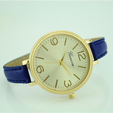 Dames Modieus horloge Polshorloge Kwarts Leer Band Informeel Zwart Wit Blauw Rood Groen Roze Marineblauw roze