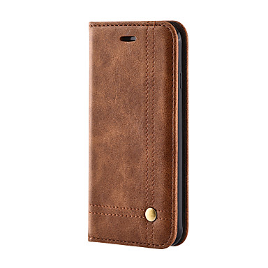 Maska Pentru iPhone 7 Plus iPhone 7 Apple Titluar Card Portofel Cu Stand Întoarce Carcasă Telefon Culoare solidă Greu PU piele pentru