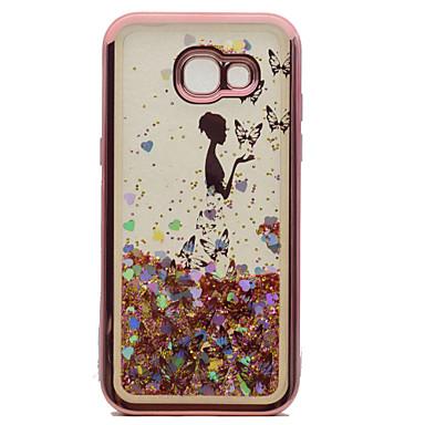 hoesje Voor Samsung Galaxy A5(2017) A3(2017) Beplating Stromende vloeistof Patroon Achterkantje Vlinder Sexy dame Glitterglans Zacht TPU
