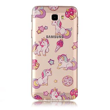 Etui Käyttötarkoitus Samsung Galaxy J7 Prime IMD Läpinäkyvä Kuvio Takakuori Yksisarvinen Pehmeä TPU varten J7 (2016) J7 Prime J7 J5