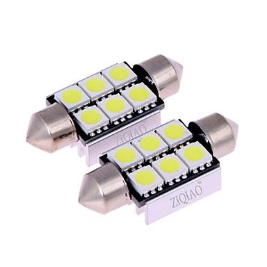 Ziqiao wit 39mm 5050 6 smd led c5w auto leid auto interieur koepel deur gloeilamp weg verlichting werk lamp (12v / 2pcs)