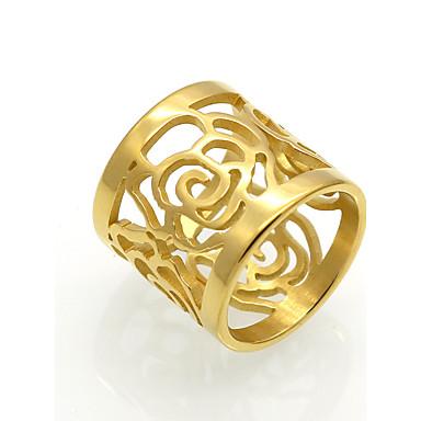 Bărbați Pentru femei Inel de declarație Band Ring Auriu Argintiu Oțel titan 18K Aur Pătrat Geometric Shape neregulat Floare Personalizat