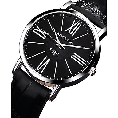 KINGNUOS Bărbați Ceas La Modă Ceas de Mână Ceas Casual Quartz Piele Bandă Cool Casual Negru Maro Negru Maro