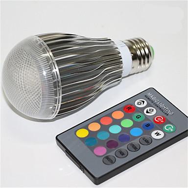 5W E27 مصابيح كروية LED A60(A19) 1 الأضواء LED مدموج تخفيت جهاز تحكم ديكور RGB 500 AC 85-265V