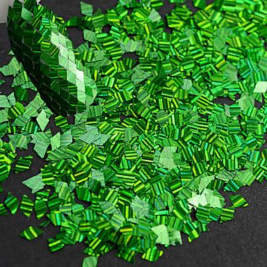 1 φιάλη νέα μόδα τέχνη νύχι λωρίδα λέιζερ πράσινο ρομβοί λεπτή φέτα φέτα έκπληξη παλέτα διακόσμηση για την τέχνη νυχιών DIY ομορφιά lw08