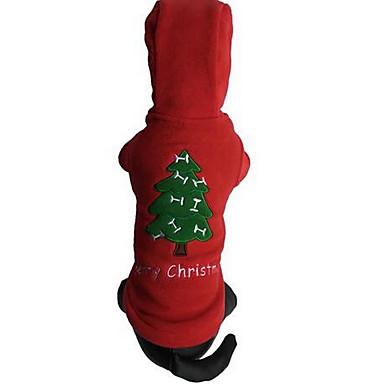 Câine Haine Tricou Crăciun Îmbrăcăminte Câini Crăciun Draguț Modă Sport Desene Animate Rosu Costume Pentru animale de companie
