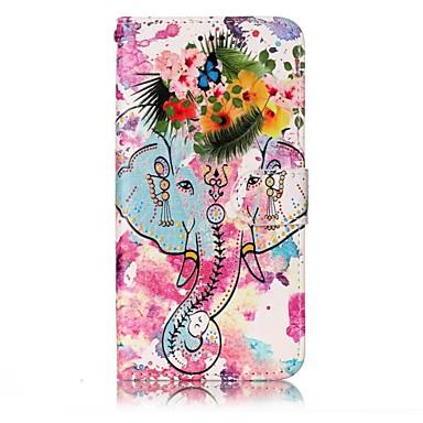 Hülle Für LG Geldbeutel Kreditkartenfächer mit Halterung Flipbare Hülle Geprägt Muster Magnetisch Ganzkörper-Gehäuse Elefant Blume Hart