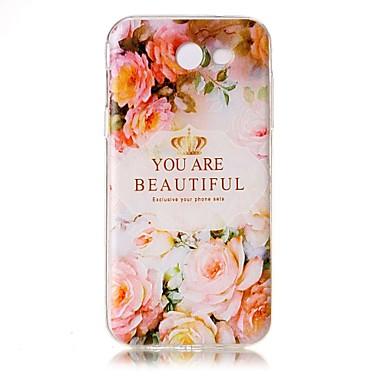 Maska Pentru Samsung Galaxy J5 (2016) J3 (2016) Transparent Embosat Model Carcasă Spate Cuvânt / expresie Floare Moale TPU pentru J5