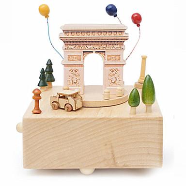 Muziekdoos Hout Vierkant Carrousel Arc de Triomphe Merry Go Round Schattig Castle in the Sky Canon Unisex Geschenk