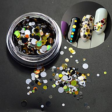 1 şişe moda yuvarlak dilim çivi sanat dekorasyon karışık renkli lazer parıltı diy beauty paillette dilim p6