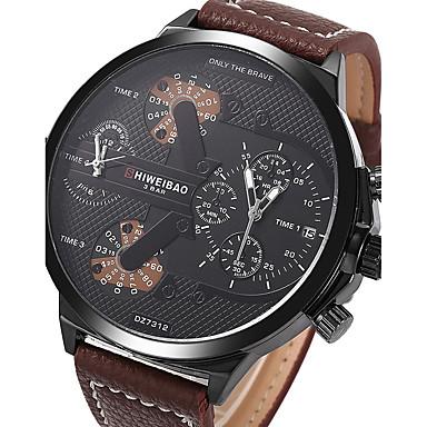 levne Pánské-Pánské Sportovní hodinky Vojenské hodinky Náramkové hodinky Křemenný Pravá kůže Hnědá Kalendář kreativita Hodinky s dvojitým časem Analogové Přívěšky Luxus Vintage Na běžné nošení Skládaný - Kávová