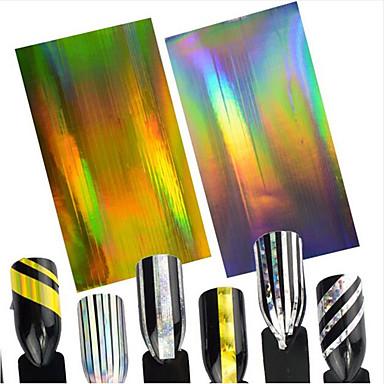 2pcs/set      Laser Gold+Laser Silver Nail Art tarra Glitter & Powder 3D Nail Stickers Folio Stripping Tape meikki KosmeettisetNail Art