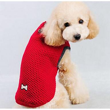 Köpek Kazaklar Köpek Giyimi Karton Koyu Mavi Kırmzı İpek Kumaş Pamuk Kostüm Evcil hayvanlar için Erkek Kadın's Günlük / Sade Moda