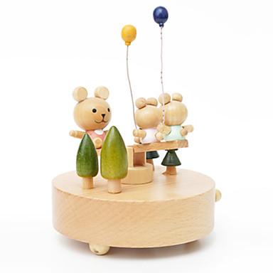 Spieluhr Spielzeuge Niedlich Kreisförmig Karusell Frohe Runde gehen Holz Stücke Unisex Geschenk